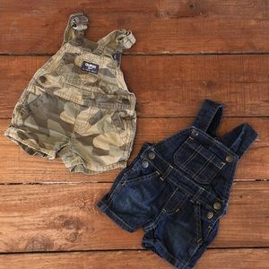 Baby Boys Overall Shorts Bundle - Camo & Dark Blue